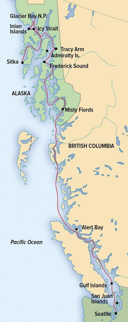 Treasures of the Inside Passage Alaska and British Columbia route map of this Alaska Canada cruise.