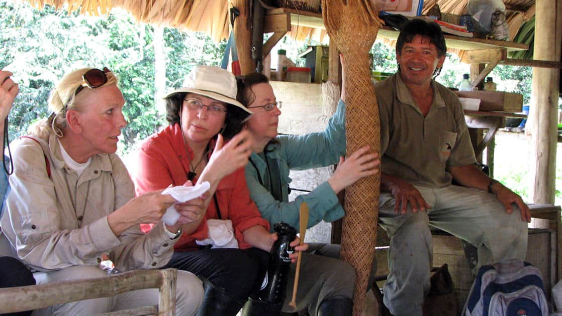 group with local guide taking a break and talking while on an excursion in brazil