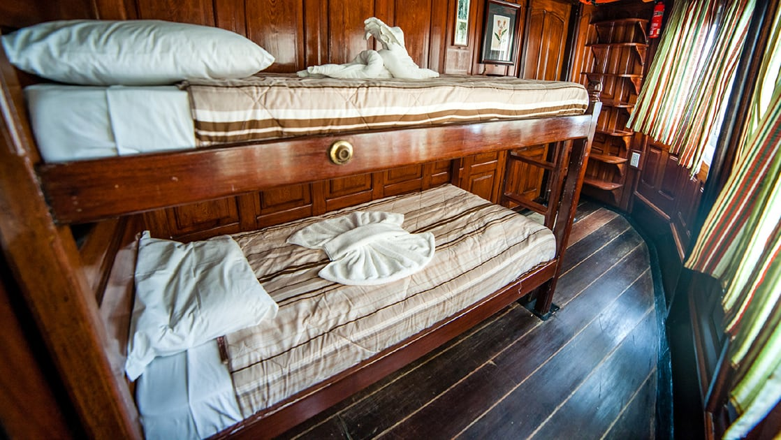 Green Category Cabin 2 with bunk beds aboard Tucano.