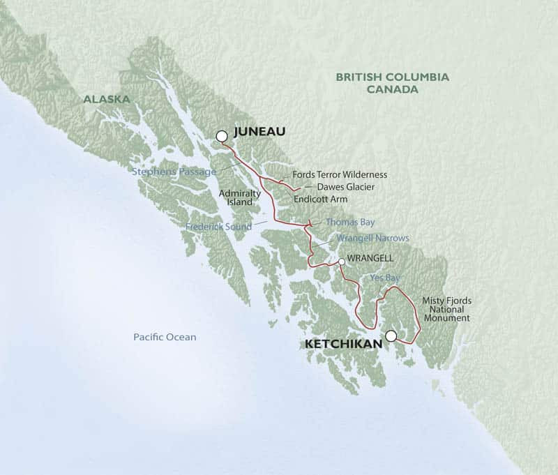 Alaska Fjords and Glaciers cruise route map from Juneau to Ketchikan