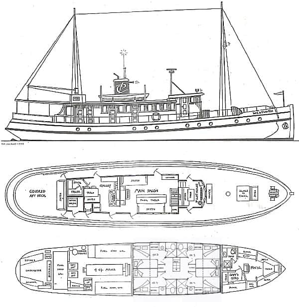 Deck plan sketch showing the two decks of the Westward and an exterior side view.