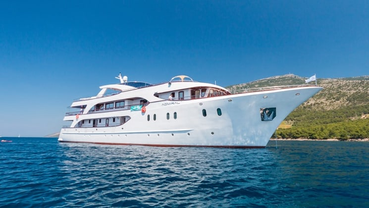 Starboard exterior of Admiral cruising in the Mediterranean.
