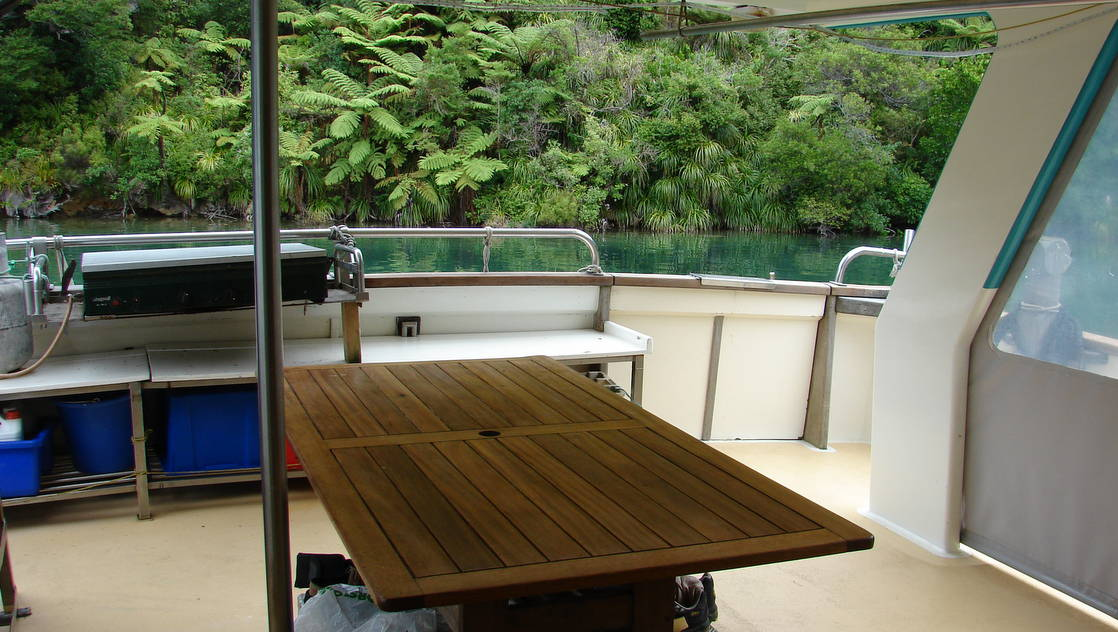 Back deck of the affinity with table.
