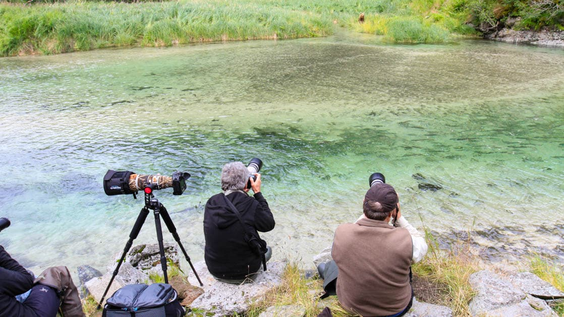 Two people with telephoto lens camera taking pictures along the river bank in Alaska