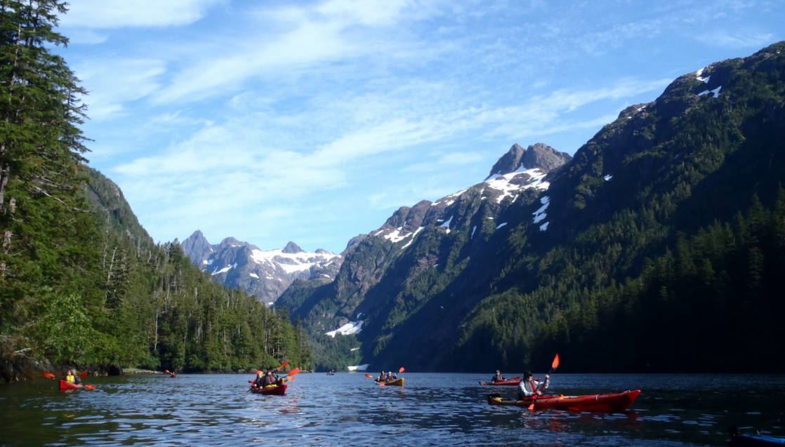 Group of small ship cruise passengers kayaking in a channel in Alaska with snowy peaks.