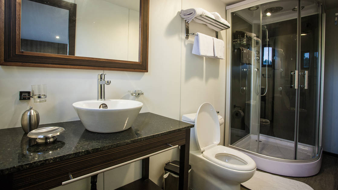 Bathroom with shower and sink in cabin aboard Anakonda.