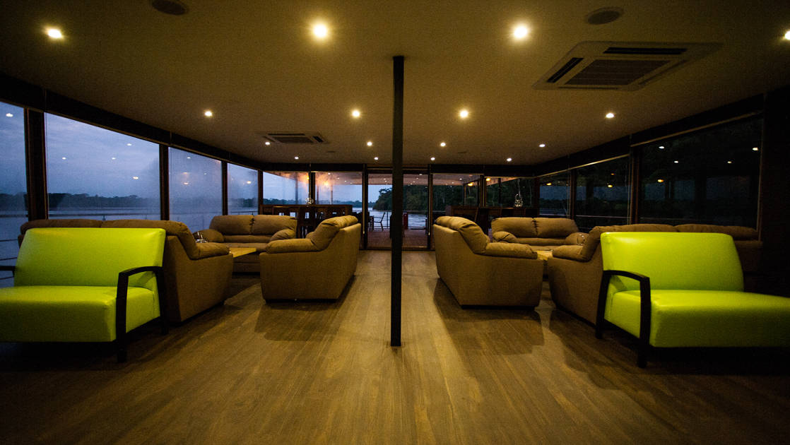 The lounge aboard Anakonda during the evening.