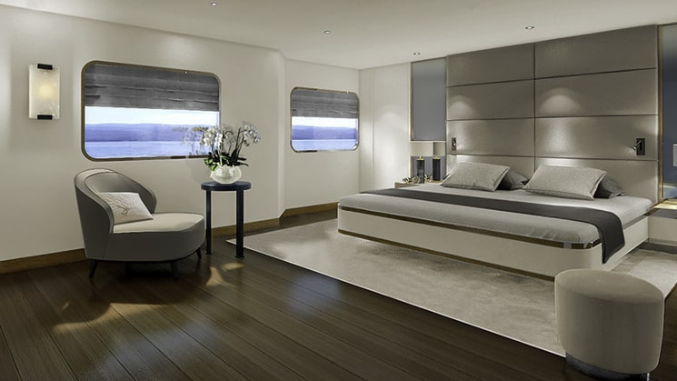 Rendering of Category II Design Suite aboard Aqua Blu Indonesia expedition ship, with king bed, comfy chair, plant, picture windows, wooden flooring, beige carpet & grey accents throughout.
