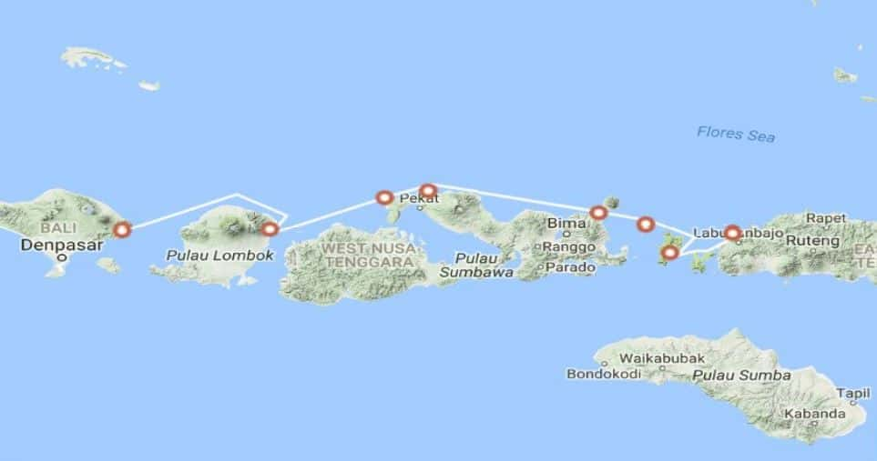 Bali cruise route map including Komodo and Flores stops