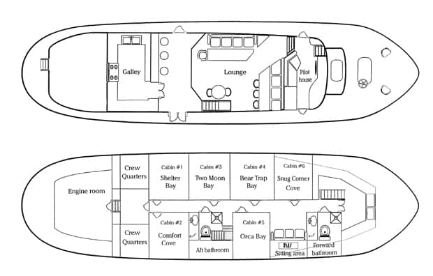 Schematic of Discovery classic working yacht in Alaska showing layouts of two decks