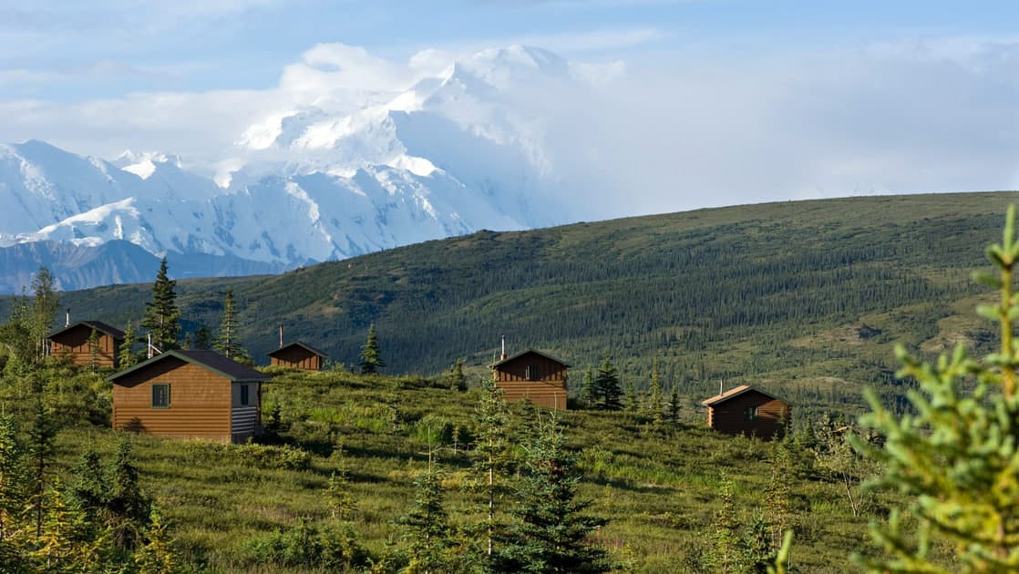 Camp Denali, with 18 guest cabins, is located on 67 acres in Alaska's natural surroundings. This sustainable, conservation-minded lodging is intertwined with the preservation of the National Park.