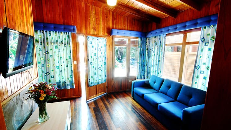 wood lined room at casa grande bambito with a blue couch and blue accents around the windows