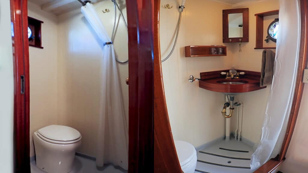 Private bathrooms in cabins 1, 2 and 6.