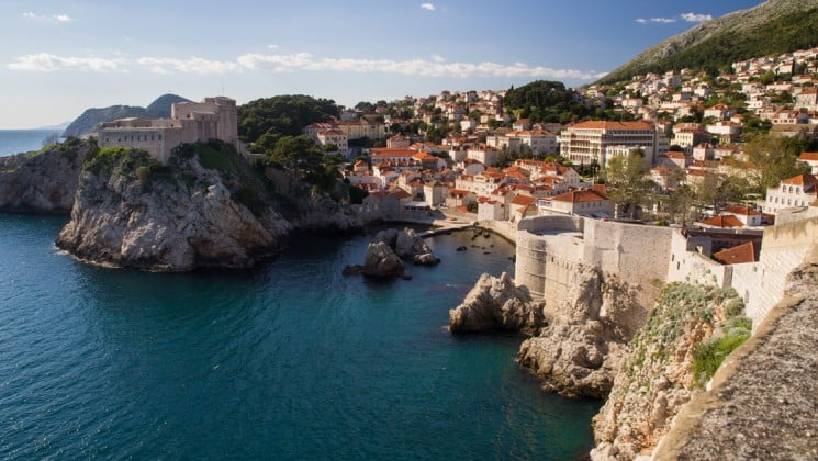 dubrovnik town and water on a sunny day with blue skies in the mediterranean