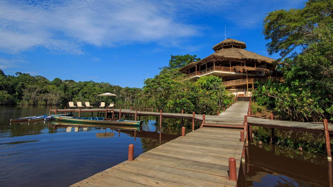 La Selva Amazon EcoLodge is located next to a pier that juts into the Napo River in the Ecuadorian Amazonian Basin