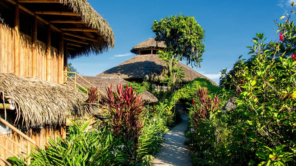 A stone pathway weaves through thatch-roofed cabanas, each with private bathrooms and hot water, on a hillside overlooking a lake at La Selva Amazon EcoLodge, a sustainable, luxury accommodation in Ecuador