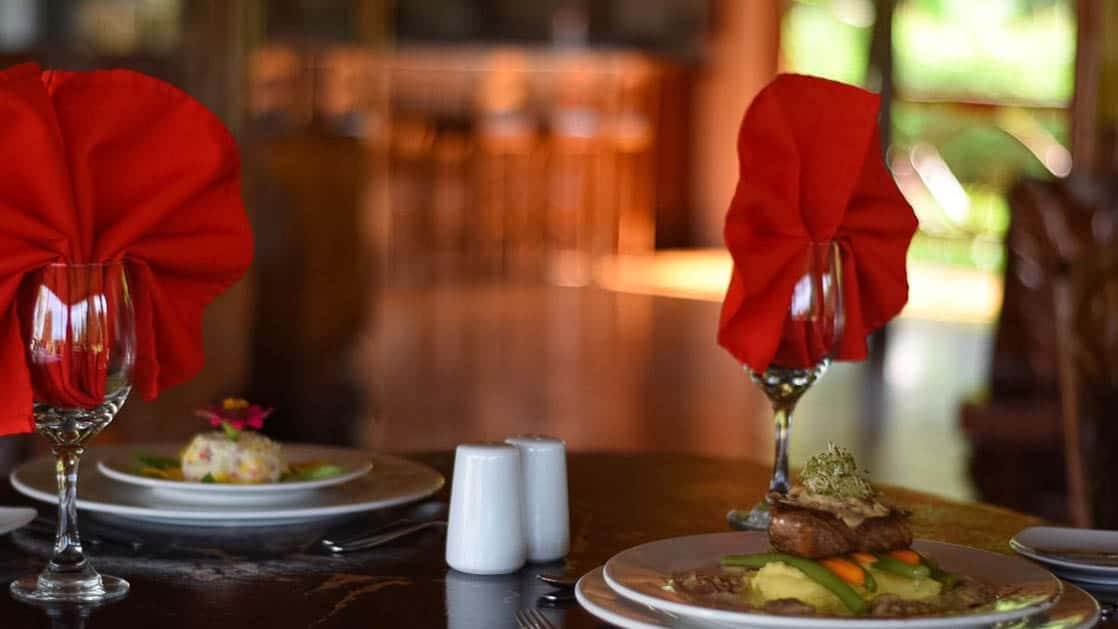 A traditional Ecuadorian dish is plated for a gourmet dinner at the Napo Wildlife Center, a luxury eco lodge in the Amazon