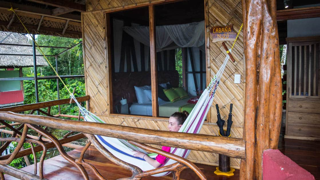 A hammock is strung across the balcony in the Panoramic Suite at the Napo Wildlife Center, a luxury eco lodge surrounded by a rainforest biosphere reserve in the Ecuadorian Amazon.