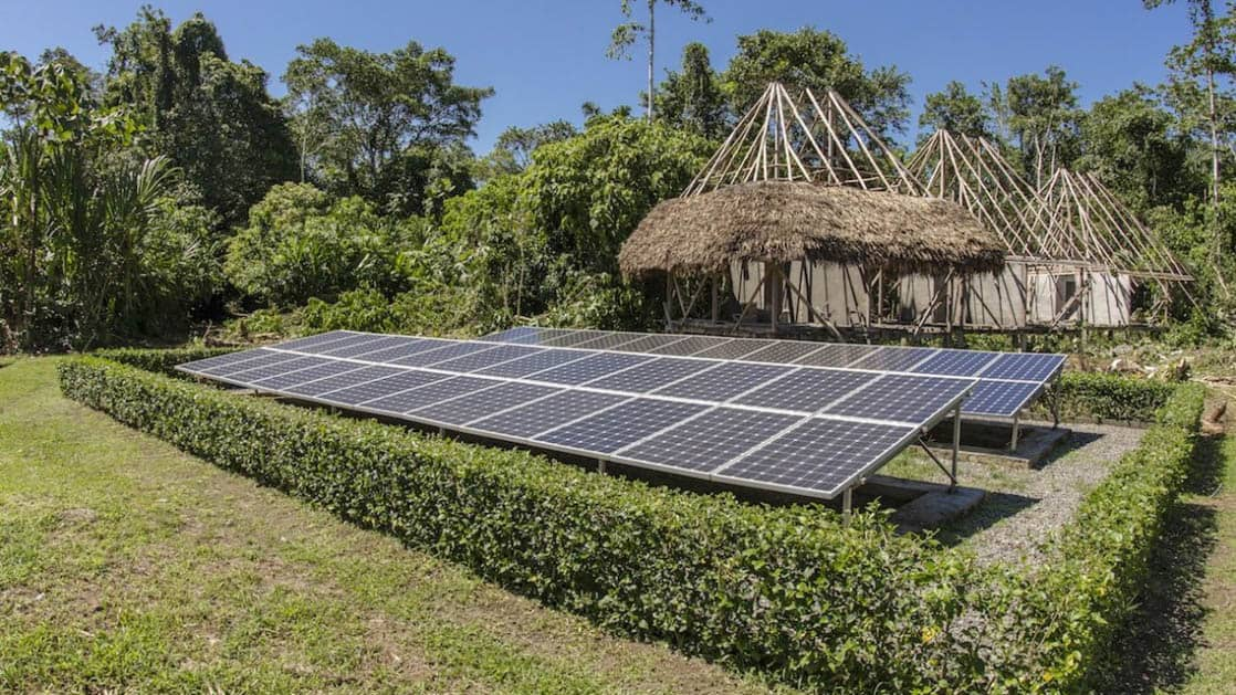 Solar panels contribute to the sustainable operations and 24-hour electricity at the Napo Wildlife Center, a luxury eco lodge surrounded by a 53,000 acre rainforest biosphere reserve within Yasuni National Park in the Amazon.