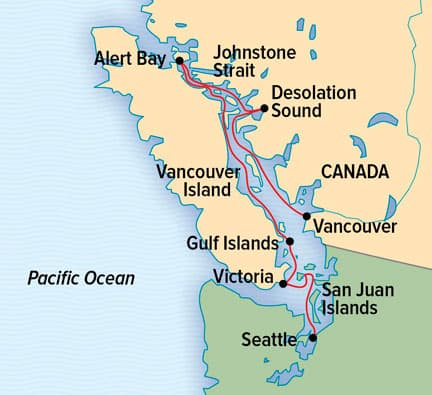 Exploring British Columbia & the San Juan Islands cruise route map from Seattle to Vancouver.