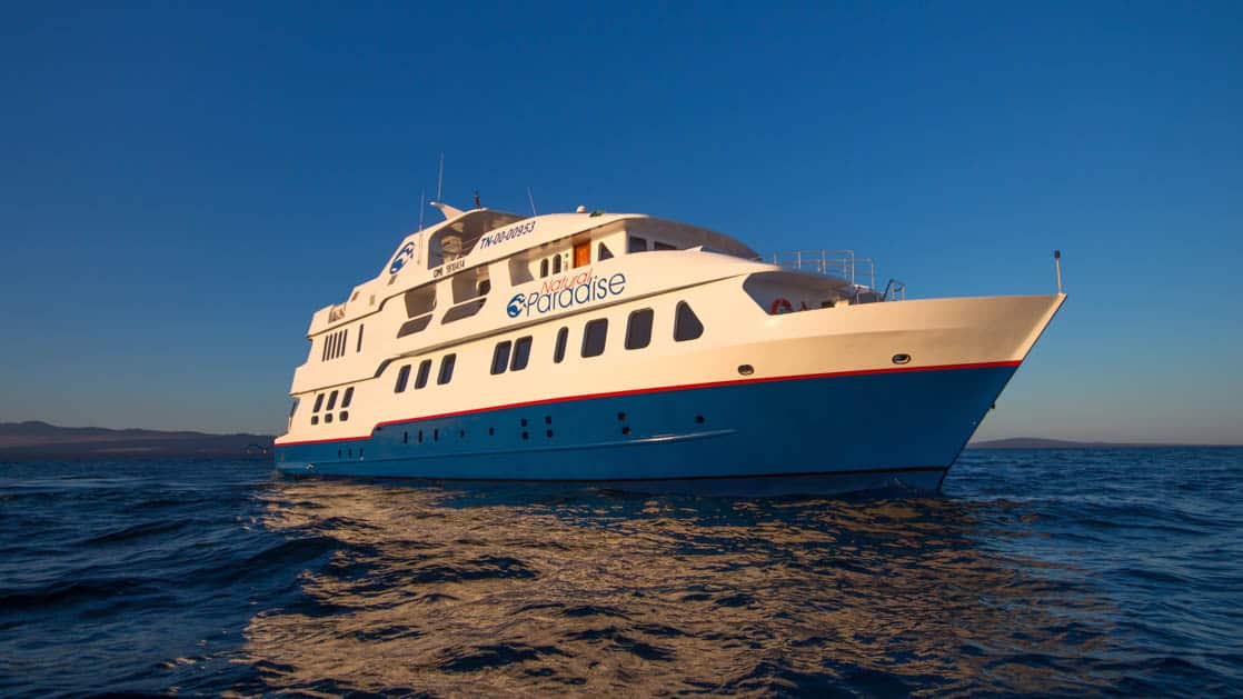 Exterior starboard side of Natural Paradise Galapagos small ship