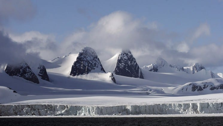 arctic landscape of spitsbergen on small ship cruise