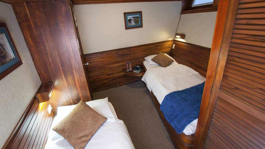 Letty stateroom Iguana Deck with 2 twin beds, closet, nightstands, reading lights, bathroom and small window.