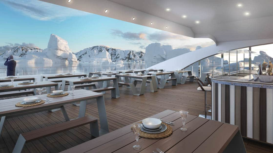 Rendering of al frescoe BBQ area on Deck 5, with buffet bar, tables, benches and place settings aboard Magellan Explorer Antarctica expedition ship