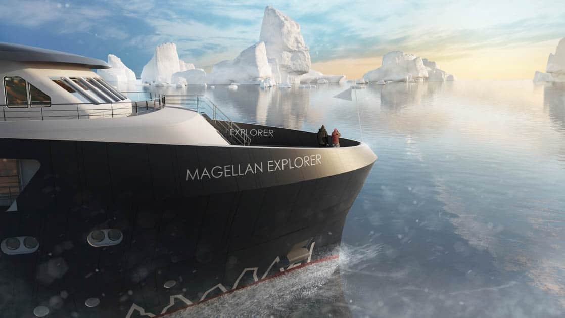 Exterior bow rendering of Magellan Explorer Antarctica expedition ship with icebergs in background