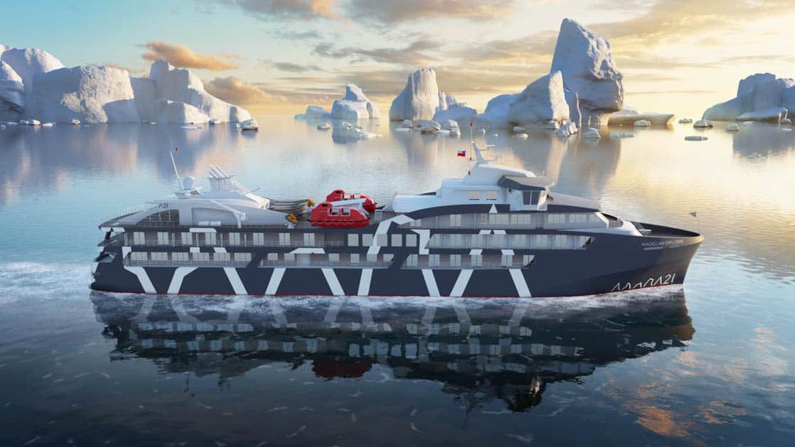 Rendering of exterior, starboard side of Magellan Explorer Antarctica expedition ship in calm water and icebergs in background