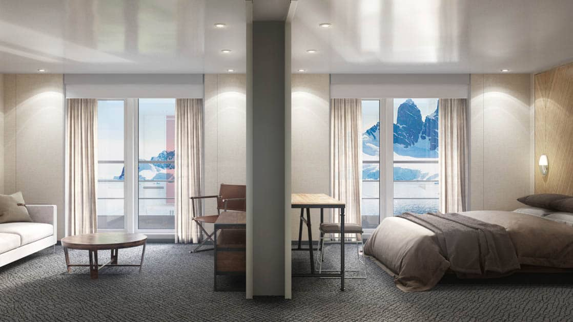 Rendering of Grand Suite with king bed, 2 private balconies and separate sitting area aboard Magellan Explorer Antarctica expedition ship