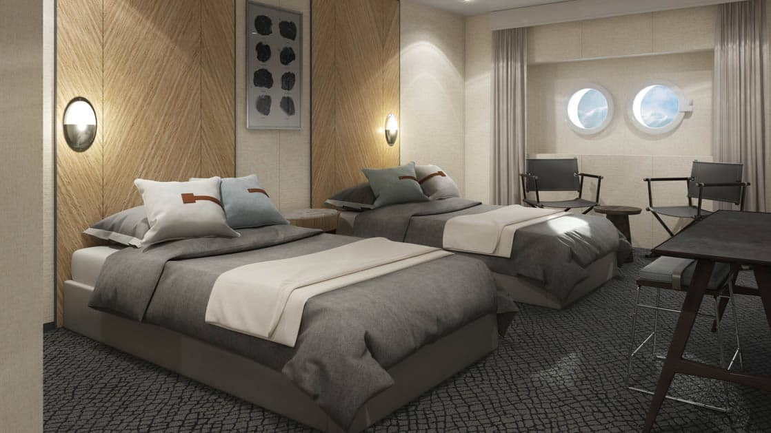 Rendering of Porthole cabin with 2 twin beds, 2 portholes and 2 armchairs aboard Magellan Explorer Antarctica expedition ship
