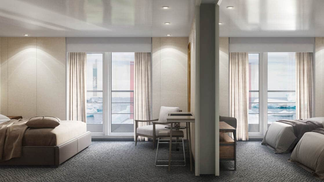 Rendering of Triple Suite with 2 twin beds and 1 sofa bed, 2 private balconies and separate living area aboard Magellan Explorer Antarctica expedition ship