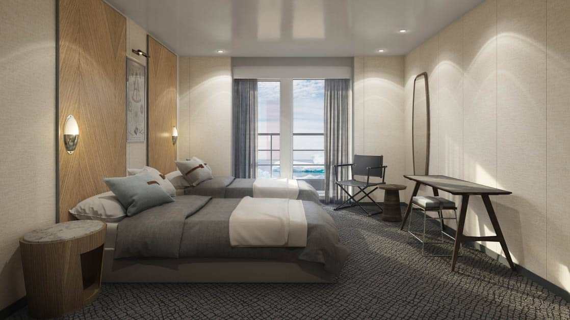 Rendering of Veranda cabin with 2 twin beds, private balcony and armchair aboard Magellan Explorer Antarctica expedition ship