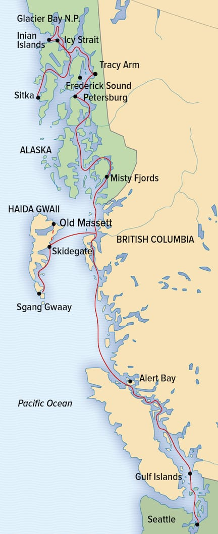 Route map of main & reverse 15-day A Remarkable Journey to Alaska, British Columbia & Haida Gwaii small ship cruise, operating between Seattle, Washington and Sitka, Alaska with visits to Gulf Islands, British Columbia, Johnstone Strait, Alert Bay, Haidai Gwaii, Misty Fiords, Frederick Sound, Petersburg, Tracy Arm-Fords Terror Wilderness, Glacier Bay National Park, Icy Strait & the Inian Islands.