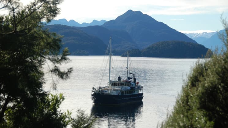 Milford Wanderer anchored in a cove with rain forest and mountains in New Zealand.