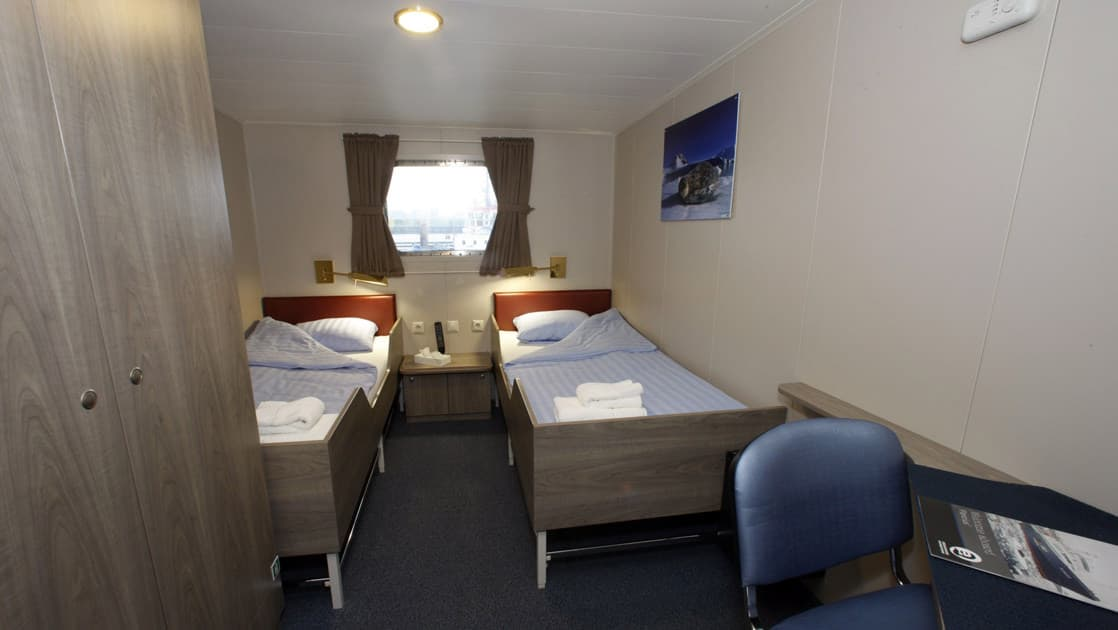 Cabin with 2 beds aboard Plancius Antarctica small ship