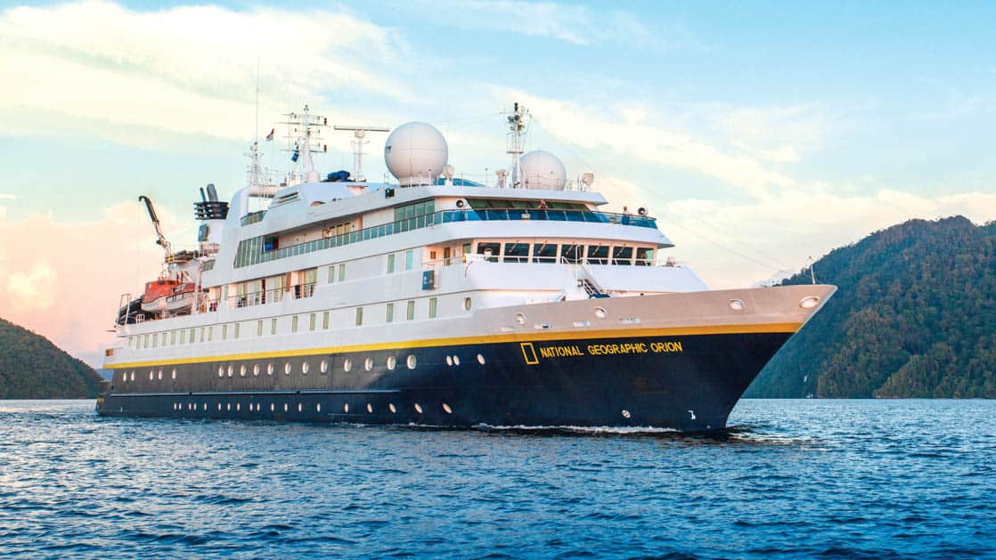 Full exterior of starboard side and bow of National Geographic Orion expedition ship