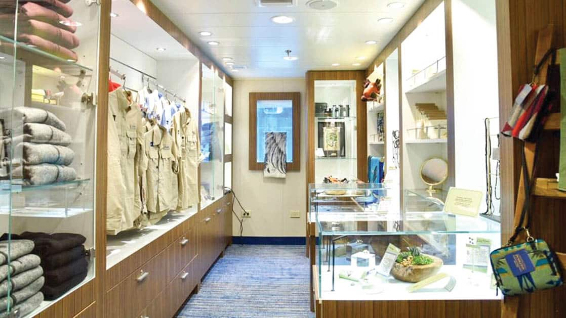 Clothing for sale in the Global Gallery aboard National Geographic Quest luxury expedition ship