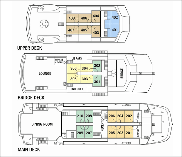 Deck plan detailing Main Deck, Bridge Deck and Upper Deck of the National Geographic Islander expedition ship in the Galapagos Islands