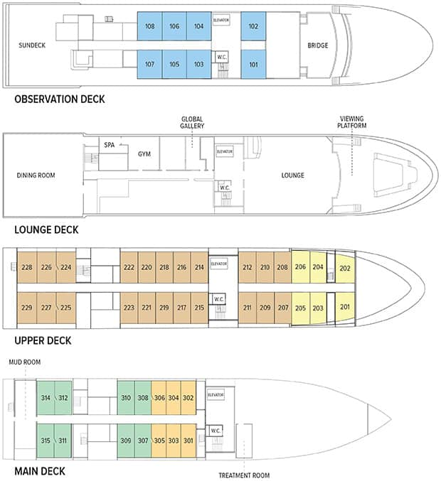 Deck plan detailing Main Deck, Upper Deck, Lounge Deck and Observation Deck of National Geographic Quest luxury expedition ship