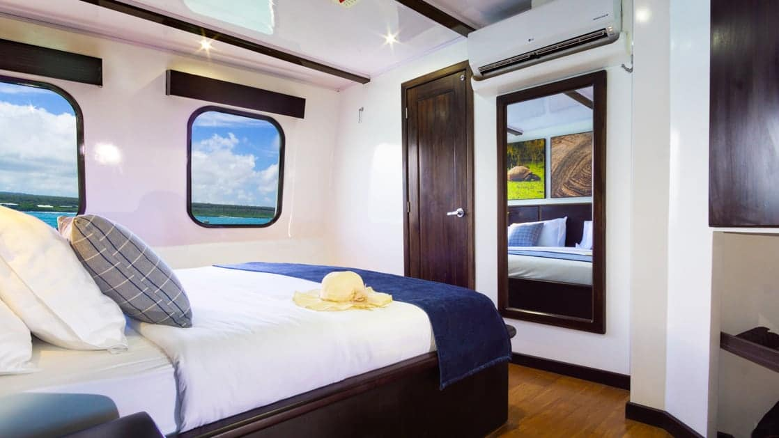 Main Deck Junior Suite with king bed aboard Natural Paradise Galapagos small ship