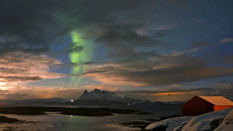 northern lights at sunset on north norway, aurora borealis & whales cruise
