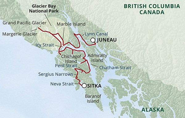 Route map of Northern Passages & Glacier Bay Cruise from Juneau to Sitka.