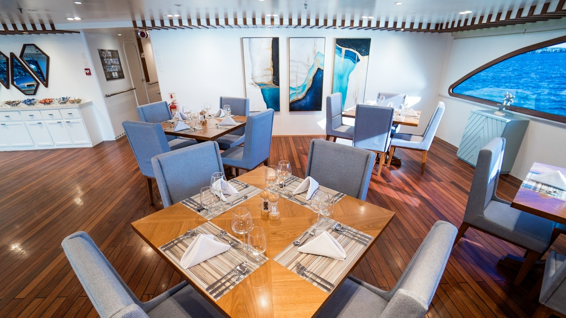 Dining room with 4 wooden tables surrounded by padded blue chairs with white walls, dark wooden floors & large window aboard a ship.