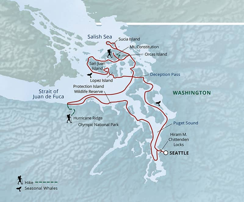 Olympic Wilderness and San Juan Islands cruise route map to and from Seattle.
