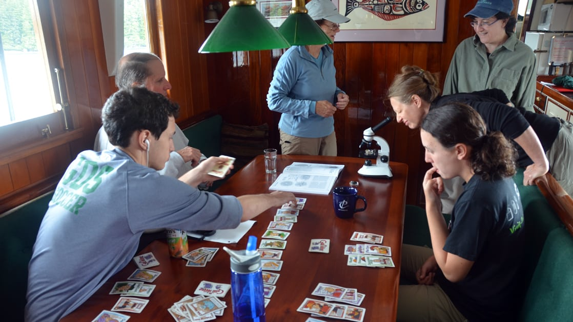 People playing card games in the salon aboard Catalyst.