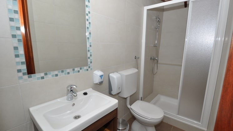 bathroom with a mirror, toilet, shower and sink aboard the president mediterranean luxury ship