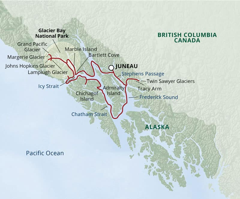 Route map of Glacier Bay National Park Adventure Cruise in Alaska showing red line of stops round-trip from Juneau