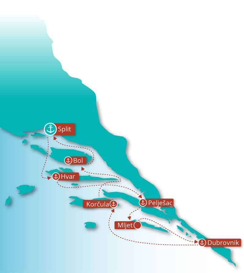 Route map of Croatia Island Hopper cruise between Split and Dubrovnik with Wednesday departures.